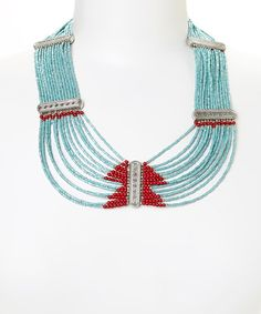 Another great find on #zulily! Turquoise & Red Beaded Triangle Bib Necklace #zulilyfinds
