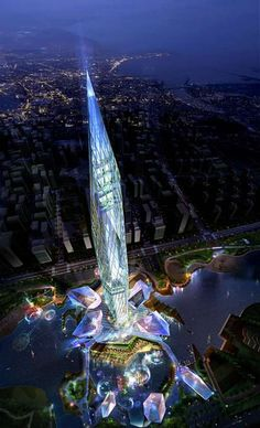 Glowing Invisible Skyscrapers - Korea's Cheongna City Tower ※Expected completion of the invisible tower is set for 2014