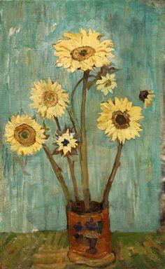 poboh:    Sunflowers in TUESKE to green, 1940, Sergei Mikhailovich Romanovich. Russian (1896 - 1968)