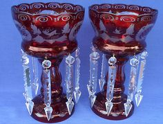 Matched pair of Large Mantle Lusters Egermann Bohemian Design - Deep Ruby Red