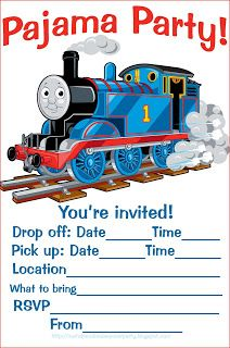 Boys who are fans of Thomas the Tank Engine might like to use this free, printable invitation for sleepover party to invite their friends al...