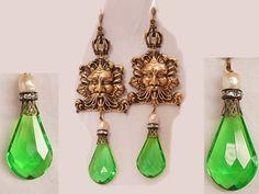 Chandelier earrings  Bacchus gothic Mystical  prism drop shoulder duster