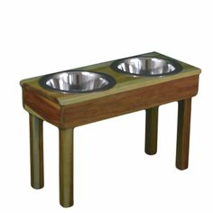"Large (17"" tall) Elevated Pet Feeder with 3 Quart Stainless Steel Bowls ** New Design **"