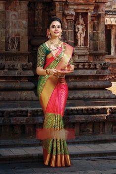 Pretty Pink And Green Color Soft Silk Designer Saree Indian Bridal Sarees, Bridal Silk Saree, Indian Bridal Fashion, South Indian Sarees, Indian Beauty Saree, Saree Wedding, Soft Silk Sarees, Wedding Wear, Cotton Saree
