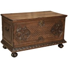 Antique Louis XIV Walnut Trunk at 1stdibs ❤ liked on Polyvore