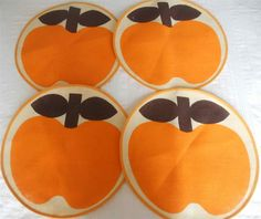 FUNKY VINTAGE 1970'S SET 4 ROUND PLACE MATS LARGE ORANGE & BROWN APPLE | eBay
