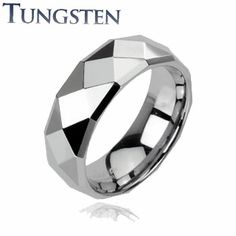 High Polished Tungsten Ring with Faceted Design and Drop Down Edges - Gold Body Jewellery, Body Jewelry Piercing, Tungsten Jewelry, Tungsten Carbide Rings, David Ring, Wholesale Body Jewelry, Engagement Rings Couple, Belly Button Rings, Jewelry Design