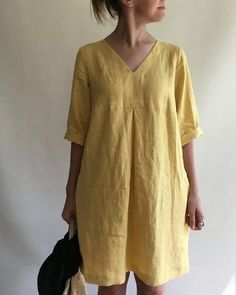 Women Casual V Neck Loose Cotton Linen Solid Tunic Dress - Banggood Mobile Backless Maxi Dresses, Linen Dresses, Casual Dresses, Prom Dresses, Summer Dresses, Half Sleeve Dresses, Maxi Dress With Sleeves, Linen Dress Pattern, Linen Tunic