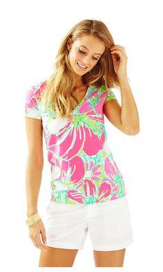 f561d27a0b1 We love our Michele short-sleeved top done in a solid pima cotton. Pair  with our luxury capris