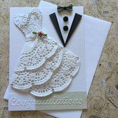Handmade Wedding card by CardsByYvonne on Etsy