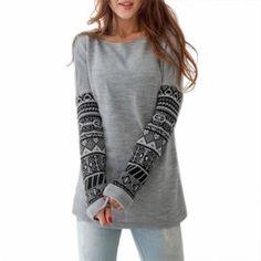 Stylish Women Round Neck Long Sleeve Print Pullover Outwear Casual Sweatshirt Tops Hoodie