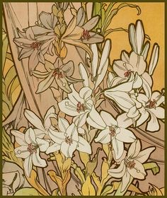 Mucha, Alphonse 'Les Fleurs-The Lily' 1898 by Plum leaves (moving), via Flickr
