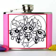 Retro PowerPuff Girls Coloring Book Flask With by kitschville, $24.00