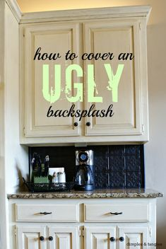 How to Cover an Ugly Kitchen Backsplash using faux tin ceiling tiles from Home Depot or Lowe's. Install with double sided tape, can be removed.