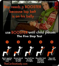 Booster in the car... The car seat lady is awesome.