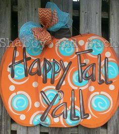 Pumpkin Door Hanger Fall Door Hanger Fall by shabbyandsuchdesigns
