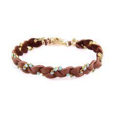 Ettika :: Bracelets :: Braided :: Chestnut Leather Braided Bracelet with Turquoise Stones