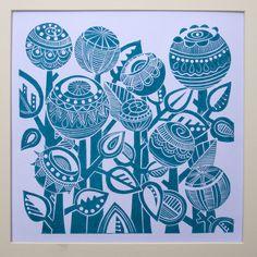 Turquoise Garden Lino Print - Folksy