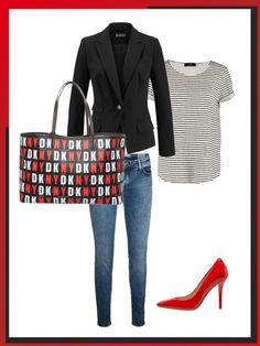 What to wear to work: das perfekte Büro-Outfit. Skinny Jeans kombiniert mit klassischen Basics wie T-Shirt und Blazer sind Must-Haves, die jeder im Schrank hat. Dazu rote Pumps und eine bunte Tasche als Highlights.
