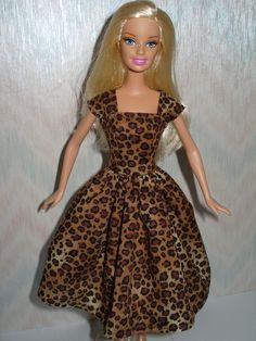 Leopard print handmade barbie dress by TheDesigningRose on Etsy, $6.00