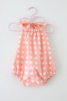 Baby Girl Ruffled Halter Romper peach pink spots by ChasingMini