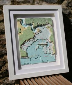 Hand cut 3D nautical relief chart of Plymouth Sound