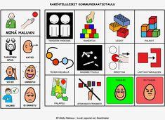 Lapsi voi jutella taulun avulla mm. lego-, palapeli- tai palikkaleikeistään. Kids And Parenting, Mathematics, Education, School, Cards, Pictures, Peda, Photos, Math