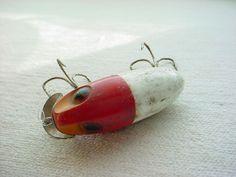 Vintage Antique Wood or Plastic Fishing Lure w Metal 2 inch Red White F1133 #UnbrandedGeneric Seller florasgarden on ebay