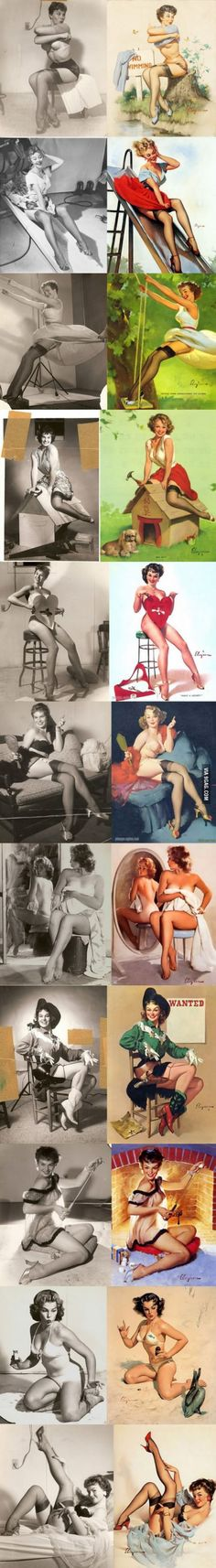 40's pin-up models have been 'edited' in the painting for the sake of advertising far before the era of Photoshop.