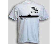 T-Shirt U-2519  T-Shirt U-Boot 2519 Typ XXI. Das U-2519 T-Shirt ist in den Größen S-3XL erhältlich. Auf dem T-Shirt ist das berühmte deutsche U-Boot U-2519 der Klasse XXI abgebildet. / mehr Infos auf: www.Guntia-Militaria-Shop.de