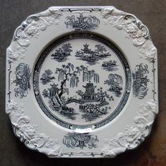 Antique Chinoiserie Plate Black English Transferware Square Octagon Shape Floral Relief Border George Jones Crescent Black Transferware