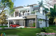 5 Bedroom contemporary home in 9 cent land 3d House Plans, Indian House Plans, Home Design Floor Plans, Cottage House Plans, Craftsman House Plans, Dream House Plans, Small House Plans, Simple Bungalow House Designs, Modern Bungalow House Design