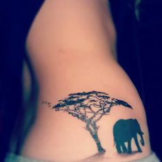 Elephant and tree tattoo, just what  had pictured in my mind what I wanted my tattoo to be :)