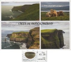 Swap - Arrived: 2017.08.14   ---   The Cliffs of Moher are located at the southwestern edge of the Burren region in County Clare, Ireland. They rise 120 metres above the Atlantic Ocean at Hag's Head, and, eight kilometres to the north, reach their maximum height of 214 metres  just north of O'Brien's Tower,which is a round stone tower near the midpoint of the cliffs that was built in 1835 by Sir Cornelius O'Brien.