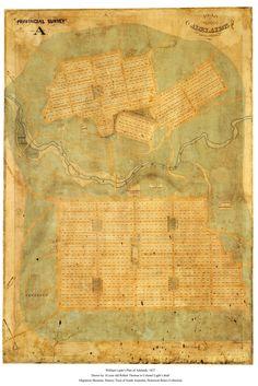 The original 1837 street plan for Adelaide, Australia by Colonel William Light