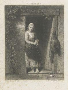 Johann Wilhelm Kaiser (I) | Jonge vrouw met breiwerk, Johann Wilhelm Kaiser (I), Arie Cornelis Kruseman, 1860 | Een jonge vrouw met hoofddeksel staat met een breiwerkje in een deuropening. Voor haar voeten ligt een bol wol.