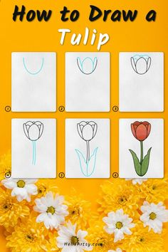 Flower Drawing For Kids, Simple Flower Drawing, Easy Flower Drawings, Flower Drawing Tutorials, Drawing Lessons For Kids, Simple Flowers, Easy Drawings, Flower Drawing Tutorial Step By Step, Learn To Draw