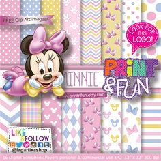 Baby MINNIE MOUSE Clubhouse Disney Digital Paper por Printnfun, €3.00 #digitalpaper #minniemouse #babyshower #party #babyminnie #patterns #pastel #babypink #yellowminnie #disney #paper #purple #bow #invitations #candybar #desserttable #sweettable #etsy #new