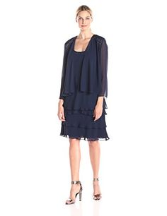 S.L. Fashions Women's Embellished Tiered Dress with Jacket  http://stylexotic.com/s-l-fashions-womens-embellished-tiered-dress-with-jacket/