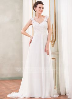 A-Line/Princess V-neck Sweep Train Chiffon Wedding Dress With Lace Beading Sequins (002042294) - JJsHouse