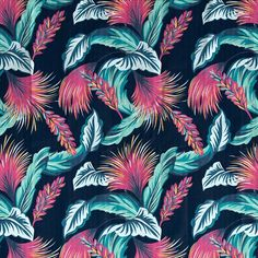 wallpaper, background, and blue image Textile Pattern Design, Textile Patterns, Textile Prints, Print Patterns, Pattern Art, Art Prints, Motifs Textiles, Tumblr Backgrounds, Tropical Pattern