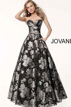 789dc59849c Black silver floral print long A line sweetheart neckline evening dress.
