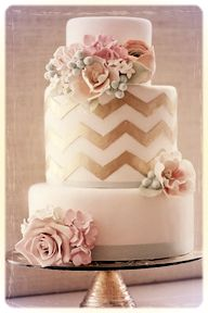 Gold chevron wedding cake with mint green, peach, and pink accents. This is my wedding cake Glamorous Wedding Cakes, Crazy Wedding Cakes, Unique Wedding Cakes, Wedding Ideas, Wedding Inspiration, Color Inspiration, Inspiration Boards, Wedding Photos, Wedding Planning