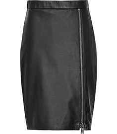 Mckayla Black Lace-insert Leather Skirt - REISS