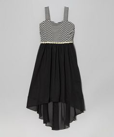 Loving this Black  White Stripe Hi-Low Dress on #zulily! #zulilyfinds