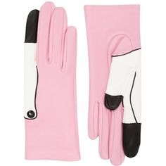 Yazbukey flamingo leather gloves (2.975 BRL) ❤ liked on Polyvore featuring accessories, gloves, leather gloves and yazbukey