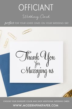 Thank you for marrying us cards, Officiant cards, Pastor cards
