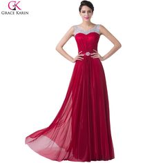 >> Click to Buy << Burgundy Floor Length Prom Dresses 2017 Grace Karin Cheap Sheer Crew Neck Cap Sleeve Beaded Formal Gowns Muslim Party Dress 6272 #Affiliate