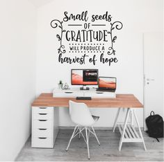 Wall sticker/decal Small Seeds of gratitude will produce a harvest of hope Childrens Desk, Desk Areas, Christian Wall Art, Adhesive Vinyl, Wall Stickers, Gratitude, Harvest, Decal, Seeds
