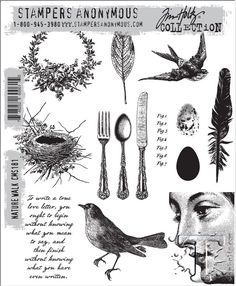 CHA 2014 sneak--upcoming Tim Holtz Stampers Anonymous.  Eggs--wonderful. Birds, very nice.  Feathers--woo! The knife, fork and spoon--MUST GET YAY